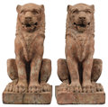 Decorative Arts, Continental:Other , A PAIR OF ITALIAN TERRACOTTA FIGURES OF LIONS. Late 18th Century. 37 x 17 x 20 inches (94.0 x 43.2 x 50.8 cm). ...