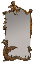 Decorative Arts, Continental:Other , A CONTINENTAL CARVED WALNUT MIRROR. Late 19th Century. 48 inches(121.9 cm) high. ...