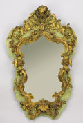 Decorative Arts, Continental:Other , AN ITALIAN BAROQUE-STYLE GILT WOOD AND PARTIAL PAINTED MIRROR.Circa 1900. 42-1/2 inches (108.0 cm) high. ...