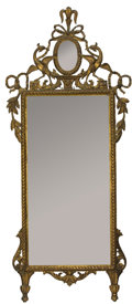 Furniture , A FRENCH LOUIS XVITH-STYLE CARVED AND GILT WOOD MIRROR. 19th century. 68 inches (172.7 cm) high. ...