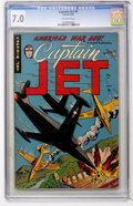 Golden Age (1938-1955):War, Captain Jet #1 (Four Star/Farrell/Comic Media, 1952) CGC FN/VF 7.0Off-white pages....