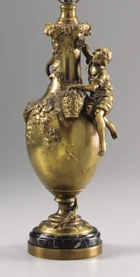 A FRENCH GILT BRONZE LAMP Late 19th-early 20th century Marks: F Moreau 30 inches (76.2 cm) high<