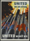 """Movie Posters:War, WWII Propaganda Poster (Office of War Information, 1943). Poster(20"""" X 28"""") """"United We Will Win."""" War...."""