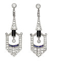 Estate Jewelry:Earrings, Diamond, Sapphire, Black Onyx, White Gold Earrings. ... (Total: 2Items)
