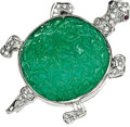 Estate Jewelry:Brooches - Pins, Carved Emerald, Diamond, Ruby, White Gold Brooch. ...