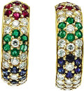 Estate Jewelry:Earrings, Multi-Stone, Diamond, Gold Earrings, Van Cleef & Arpels. ...(Total: 2 Items)