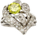 Estate Jewelry:Rings, Colored Diamond, Diamond, White Gold Ring. ...
