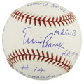"""Autographs:Baseballs, Ernie Banks Single Signed Stat Baseball. The man affectionatelyreferred to as """"Mr. Cub"""" has signed the sweet spot of this s..."""