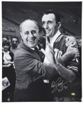 Autographs:Photos, Red Auerbach and Bob Cousy Dual-Signed Oversized Photograph. Thearchitect of the Boston Celtic dynasty that reigned in the ...