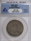 Early Half Dollars, 1806 50C Pointed 6, Stem, O-118a, R.3--Scratched--ANACS. XF40Details. (#39322)...