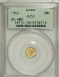 California Fractional Gold: , 1853 50C Liberty Round 50 Cents, BG-409, R.3, AU58 PCGS. PCGSPopulation (32/84). NGC Census: (4/14). (#10445)...