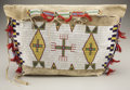 American Indian Art:Beadwork and Quillwork, A SIOUX BEADED HIDE TIPI BAG. c. 1890. ...
