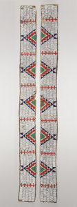 American Indian Art:Beadwork and Quillwork, A PAIR OF SIOUX BEADED HIDE LEGGING STRIPS. c. 1910... (Total: 2Items)