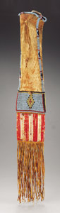 American Indian Art:Beadwork and Quillwork, A SIOUX BEADED AND QUILLED HIDE TOBACCO BAG . c. 1880. ...