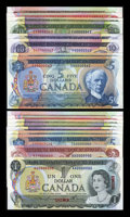 Canadian Currency: , Bank of Canada Specimen Set 362 With Matching Serial Number Set 3621969-1979. ... (Total: 17 notes)