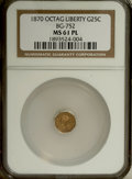 California Fractional Gold, 1870 25C Liberty Octagonal 25 Cents, BG-752, Low R.5, MS61Prooflike NGC. NGC Census: (2/1). (#710...