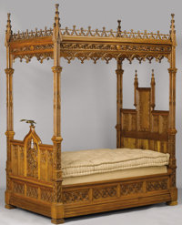 AN ENGLISH GOTHIC REVIVAL OAK TESTER BED Late 19th Century 107 x 51 x 82 inches (271.8 x 129.5 x 208.3 cm)