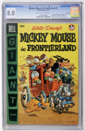 Golden Age (1938-1955):Funny Animal, Dell Giant Comics - Mickey Mouse in Frontierland #1 File Copy(Dell, 1956) CGC VF 8.0 Off-white to white pages....