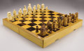 Asian:Japanese, A JAPANESE IVORY CHESS SET. 20th Century. 22-3/4 inches (57.8 cm)long, for the case. ... (Total: 2 Items)