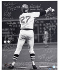 Autographs:Photos, 1975 Boston Red Sox Team Signed Oversized Photograph. While hiscareer as a whole was worthy of berth into Cooperstown's Ha...