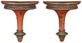 Decorative Arts, French:Other , A PAIR OF ITALIAN POLYCHROME WALL BRACKETS. Circa 1800. 9-1/2 x 8inches (24.1 x 20.3 cm) each. ...