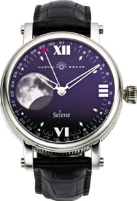 "Martin Braun Men's Platinum ""Selene"" Moon Phase Calendar Wristwatch, No. 001, modern"