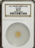 California Fractional Gold: , 1871 25C Liberty Round 25 Cents, BG-838, R.2, MS63 NGC. NGC Census:(11/8). PCGS Population (52/25). (#10699)...