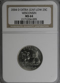 Statehood Quarters, 2004-D 25C Wisconsin Extra Leaf Low MS64 NGC. PCGS Population(1752/1053). (#814033)...