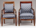 Furniture : French, TWO FRENCH EMPIRE MAHOGANY CHAIRS. First Quarter 19th Century. 36 x 24 x 20 inches (91.4 x 61.0 x 50.8 cm) each. ...