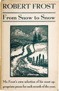 Books:Signed Editions, Robert Frost. From Snow to Snow. New York: Henry Holt &Company, [1936]....
