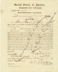 """Military & Patriotic:Indian Wars, State of Texas Oath """"Ben Crow"""" 1867 - ..."""