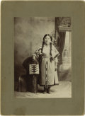 Photography:Cabinet Photos, Cabinet Card Photograph Young Girl in Traditional Native AmericanIndian Costume ca 1900s - ...