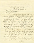 Military & Patriotic:Indian Wars, Fort Keough, Montana Territory Medal of Honor Letter 1880 -...
