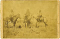 Western Expansion:Cowboy, Cabinet Card Photograph Three Native Americans on Horseback ca1880s....