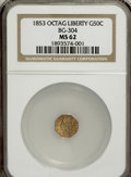 California Fractional Gold: , 1853 50C Liberty Octagonal 50 Cents, BG-304, Low R.5, MS62 NGC. NGCCensus: (2/1). PCGS Population (14/14). (#10424)...