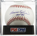 "Autographs:Baseballs, Harmon Killebrew ""HOF 84"" Single Signed Baseball, PSA Mint 9. Agorgeous sweet spot signature from this 500 Home Run Club me..."