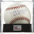 "Autographs:Baseballs, Phil Niekro ""H.O.F '97"" Single Signed Baseball, PSA Gem Mint 10.The Hall of Fame pitcher earned the last of his 318 career ..."