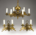 Decorative Arts, Continental:Lamps & Lighting, AN ENGLISH BRASS SIX-LIGHT CHANDELIER AND PAIR OF SCONCES. 20thCentury. 10 x 20 inches (25.4 x 50.8 cm) for the chandelier...(Total: 3 Items)