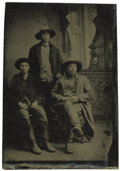 Western Expansion:Cowboy, Sixth Plate Tintype Photo of Three Working Cowboys ca 1870s - ...