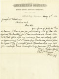 Miscellaneous:Ephemera, Letterhead Sheriff's Office Miles City, Montana Territory 1881. ...