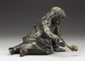 Decorative Arts, Continental:Lamps & Lighting, JÖRGEN WINDFELD-SCHMIDT (Danish, 1885). Figural Lamp, Early20th Century. Bronze. 11-1/4 inches (28.6 cm) long. Signed v...