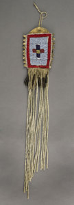American Indian Art:Beadwork and Quillwork, A CROW BEADED HIDE POUCH. c. 1880...