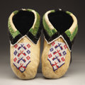 American Indian Art:Beadwork and Quillwork, A PAIR OF KICKAPOO BEADED HIDE MOCCASINS. c. 1900... (Total: 2Items)