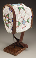 American Indian Art:Beadwork and Quillwork, A SIOUX WOMAN'S BEADED HIDE BONNET. c. 1890...