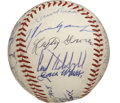 Autographs:Baseballs, Baseball Hall of Famers Signed Baseball with Foxx, Dean. Twenty-twoHall of Fame signatures grace the OAL (Cronin) baseball...