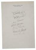 Golf Collectibles:Autographs, 1945 Celebrity Golf Classic Signed Stationary Page with BingCrosby, Bob Hope and Tris Speaker. From a 1945 celebrity golf t...