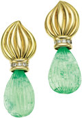 Estate Jewelry:Earrings, Carved Emerald, Diamond, Gold Earrings. ... (Total: 2 Items)