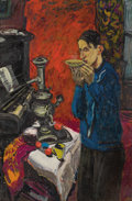 Fine Art - Painting, Russian:Modern (1900-1949), ALEX TSCHERNJAWSKI (Yugoslavian/American, b. 1933). RussianChampagne, Self Portrait Drinking Tea from Samovar. Oil on c...