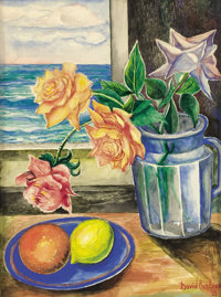 DAVID DAVIDOVICH BURLIUK (Russian/American, 1882-1967) Still Life with Roses and Fruit, 1933 Waterco