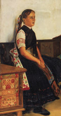 Fine Art - Painting, Russian:Modern (1900-1949), NIKOLAI VASILIEVICH HARITONOFF (Russian/American, 1880-1944).Portrait of a Young Woman in Traditional Dress. Oil oncan...
